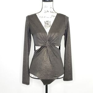 Arden B Long Sleeves Bronze Bodysuit Size L